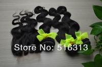 1pc 3 three part 4x4 Lace Top Closure with 3pcs Brazilian Human Hair Bundles weaves,4pcs/lot malaysian Virgin Hair Extensions