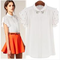 brand design S-XL, 2014 New Hot Sale Women pure Colorful Batwing Sleeve Chiffon Shirt Ruffles blouse A1401