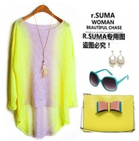 Easy import fluoroscopic bump color long sweater
