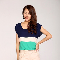 2014 new ladies joining together T-shirt , colorful Chiffon shirt bat-wing sleeve leisure  Bottoming shirt OL fashion