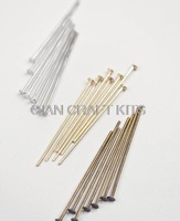 Set of 500pcs silver,gold,antique bronze plated head pins (20mm-40mm) mixed colors and sizes