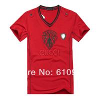 2014 New Arrive Free Shipping Men Short Sleeve V Neck Fashion Brand T Shirt, Men Sport Cotton White Black T Shirt   Wit Line8328