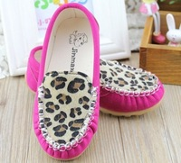 2014 spring girls shoes princess leopard print horsehair child princess shoes loafers  male female single shoes