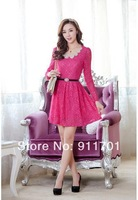 2014 new Korean version of sweet temperament Slim sequined beaded lace collar long-sleeved dress (with belt) tq-5002-8816 #