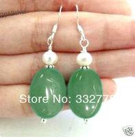Classic pretty Freshwater White pearl Light green jade Silver hook Earrings