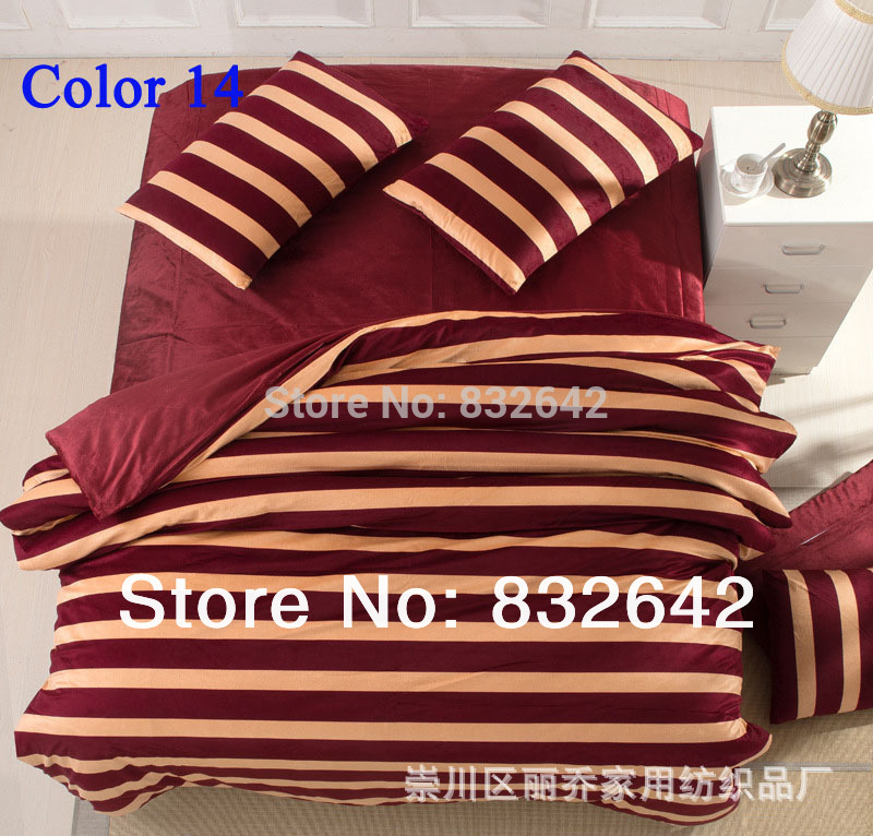 Free Shipping Fedex Bedding Set Stripes Bedclothes Duvet Quilt Cover Cotton Home Textile Top Quality Bedspread Queen Size 4PCS(China (Mainland))