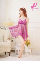 New Sexy Women's Flower Lace Guaze Lingerie Set Pajamas Straps Irregular Hem Dress and T-back Sleepwear/Nightwear - Purple