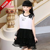 2014 latest fashion children's  clothing sleeveless gauze cake 100% cotton flower girl princess one-piece dress tank dress