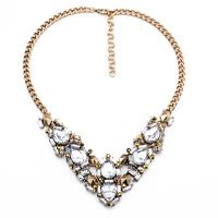 All-match crystal Zora crystal V-necklace cheap 2014