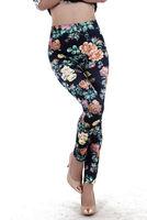 2014 New Fashion!Women Vintage Slim Casual Digital Print Sexy Flower Design Skinny Straight Pencil Pants1044 Free Shipping