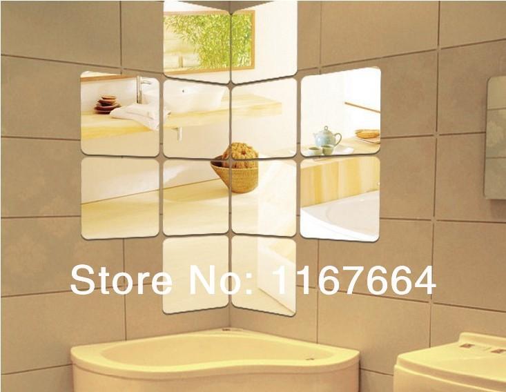 Free Shipping Modern home decoration,round angle square wall sticker 3D acrylic mirror sticker 12pcs/set(China (Mainland))
