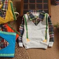 2014 children's spring clothing children long-sleeve turn-down collar faux two piece sweatshirt polo shirt male child t-shirt