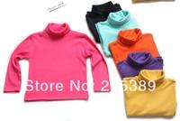 Children's clothing 2013 winter child long-sleeve turtleneck t-shirt basic shirt plus velvet male female child baby 100% cotton