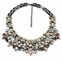 New limited edition Luxury kahlo hematite&rhinestone bib necklace 2014