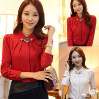 Drop Shipping 2014 Spring new autumn for women's shirts black red white Plus Femal new formal OL Blouses & Shirts XWY 0061