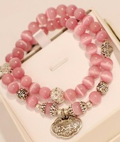 Free shipping wholesales handmade cat's eye bracelet with many colors girls' favorite natural crystal bracelets