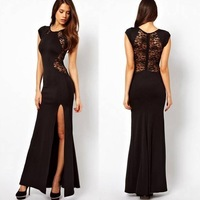 NEW Fashion Sexy Women's Fashion Lace & Knitting Patchwork Back Waist Hollow Out Solid Black/Red Slim Side Slit Open Long Dress
