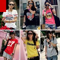 New 2014 women's fashion shirts casual shirt Sport  women's shirt with O-neck Women T-shirt 100% cotton