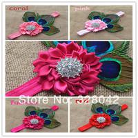 Trail order NEW satin ribbon flower headbands baby girl feather and bling rhinestone FOE headbands hair accessories 12pcs/lot