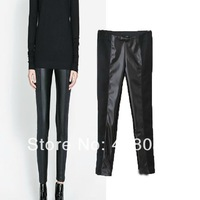 Sping summer 2014 Women Fashion PU Leather Patchwork leggings soft casual pants free drop shipping