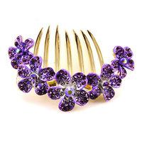 Professional wholesale  hair accessories Plum flower Rhinestone hairpin comb