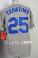 Cheap,#25 Carl Crawford Men's Gray 2014 New Baseball jerseys Sale wholesale,Embroidery sewing logos,Free shipping