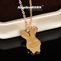 Free Shipping~New Jewelry Summer&Spring Show 18k Rose Gold Plated Cute Rabbit Sweet Chain Necklace