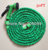 Free Shipping  Hot Sales 50FT Green Expandable Garden Hose With Fast Connector And Sprayer Nozzle