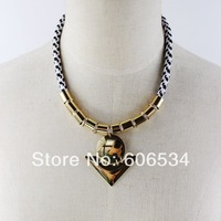 Luxury European Golden color Bohemia weave line chocker necklace party queen statement Fashion 2014 new arrival jewelry