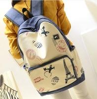 2014 Jeans Vintage Preppy Style travel BACK PACK Canvas EIFFEL TOWER Prints Girls MOCHILA Women Bookbag School Shoulder Bag