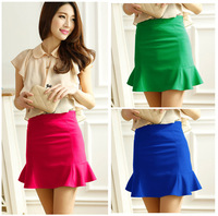 2014 spring and summer short ruffles slim all-match elastic skirts womens 7colors S,M,L,XL,XXL Free shipping