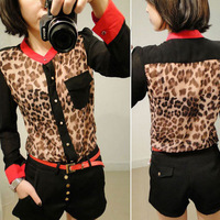 Free shipping Hot Sale 2014 New Fashion Women Chiffon Top Blouse Long Sleeve pocket Leopard patchwork shirt BLK 6045