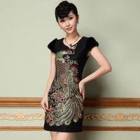 2014 spring new retro Chinese style cheongsam Phoenix beaded embroidery Slim short-sleeved dress Q1661