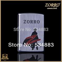 2014 New 100% Zorro brand silver color metal windproof  flame cigarette oil lighter ZORRO chivalrous man pattern