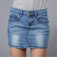 2014 spring and summer blue mini denim short slim skirts womens Free shipping