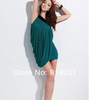 2014 New Fashion Sexy Women's Clubwear One Shoulder Outfit Slim package hip  Party Dress color red,black,green