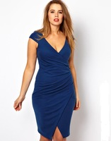 Womens sexy deep v-neck pencil dress with fold decoration plus size curve dress for wholesale and dropship 1127