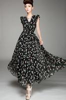 New Sexy dress 2014 V-neck  long print women dress chiffon ladies summer dresses female clothes