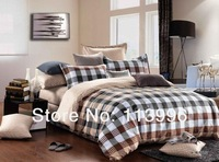 100% cotton man plaid king queen size bedding set quilt cover sheet pillow cases sets bedcover bedclothes bed linen