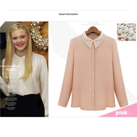Free Shipping 2014 Women Spring Summer New Fashion Long Sleeve Top Blouse Chiffon Shirt