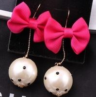 Free Shipping! New 2013 Korean Office Lady Fabric Bowknot with Big Pearl Dangle Earrings for Women Jewelry Wholesale and Retail
