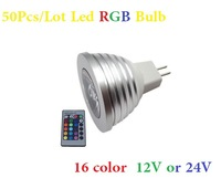 50Pcs/Lot MR16 Led RGB Bulb 4w 16 color 12V/24v Led Spotlight Lamp With IR Remote controller Fedex Or DHL Free shipping