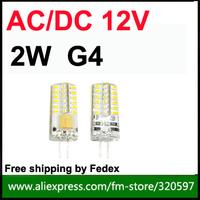 Freeship fedex  100PCS/lot G4 2W  24PCS XSMD3014 Led Bulbs AC/ DC 12V / Warm/Cool White instead of 20w halogen lamp