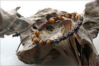 New 2014 natural tiger eye stone beads black skull braided bracelet for men, men bracelet