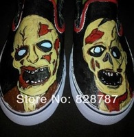 Drop shipping Zombie hand painted shoes man woman low tops