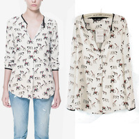 Animal print Chiffon Blouse Mandarin Collar Full sleeve Women Shirt