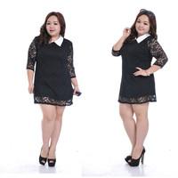 New 2014 Vintage Lace Dress Plus Size Fat Women Mini Lenth Dress Female Summer Large Big Size Clothing Elegant Evening Dress