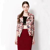 Women Casual Slim Jacket Autumn Winter New 2014 Fashion Long Sleeve Small Coat Elegant Floral Printed Lapel Zipper Jackets