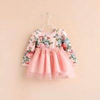 2014 spring new arrival baby girls spring long sleeve flower veil dress princess party dress 225