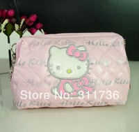 HELLO KITTY COSMETIC BAGS MAKEUP BAG COSMETICS CASE ORGANIZER CLUTCH - PINK & PRINTED